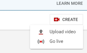 Screenshot of YouTube's Go Live Button