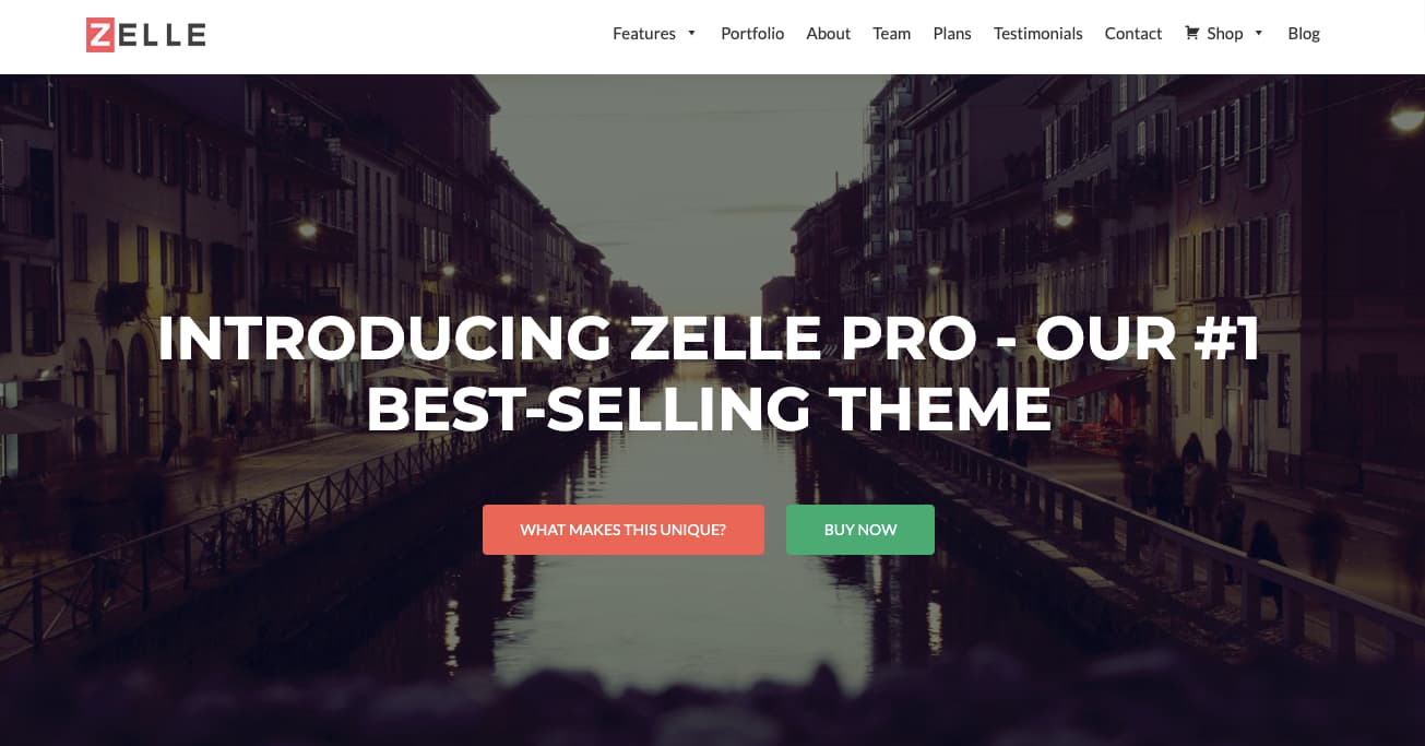 Zelle Pro flat theme shows parallax hero image and brightly colored call to action buttons