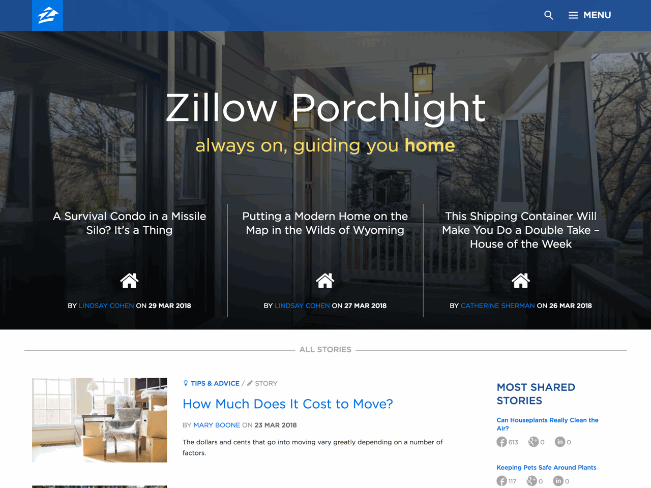 Zillow Porchlight website from Sage showcase