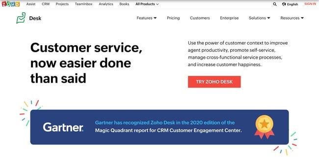 Zoho Desk help desk software featuring an award from Gartner.
