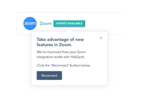 Aktualisierungen der Zoom-App - Produktaktualiserungen in HubSPot in August 2020.