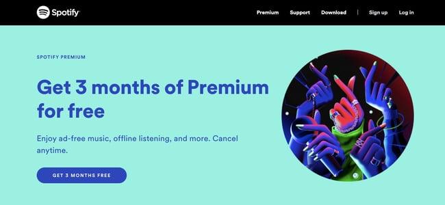 a web design example on Spotify.com