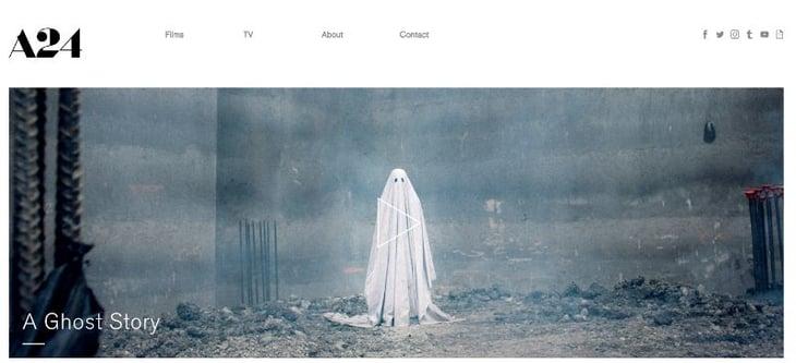A24 Films homepage web design