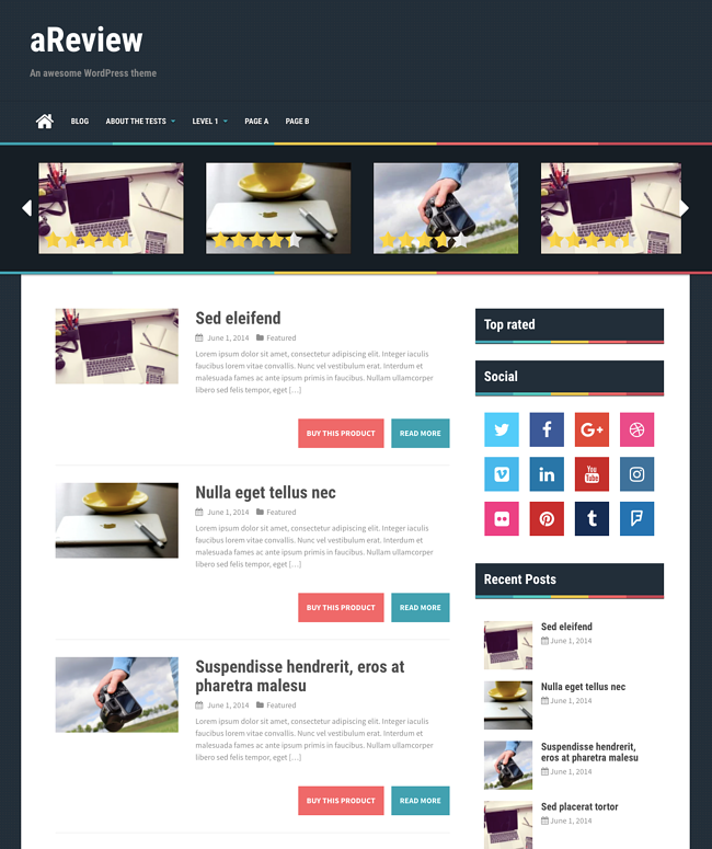 aReview theme demo showcasing review site on WordPress