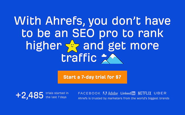 Above the fold website example from Ahrefs