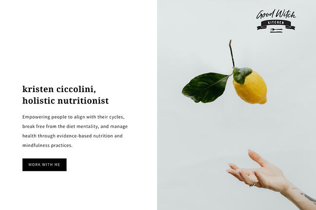 Above the fold website example from Good Witch Kitchen