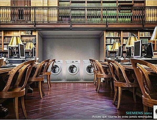 siemens ad that shows washing machines in a library