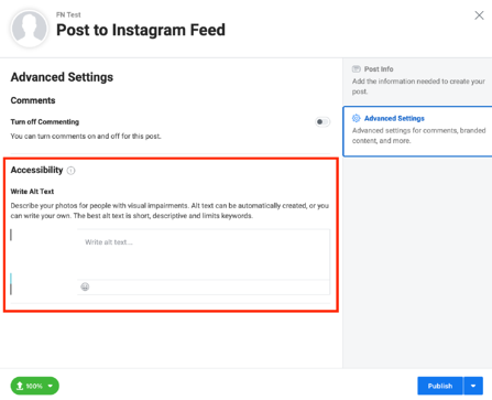 how to add alt text to your posts on instagram creator studio in advanced settings