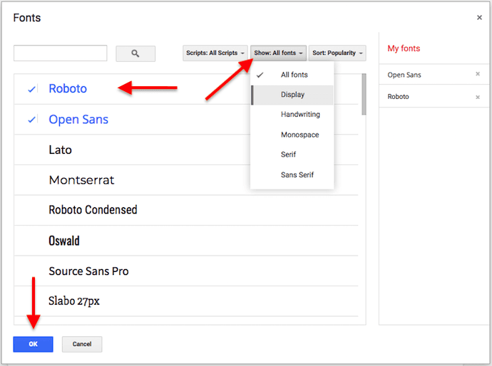 Window to add fonts in a Google Doc