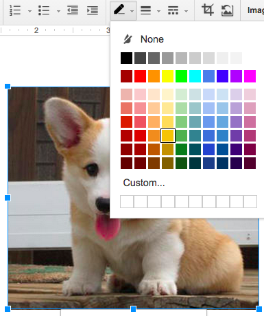 Formatting picture color in a Google Doc