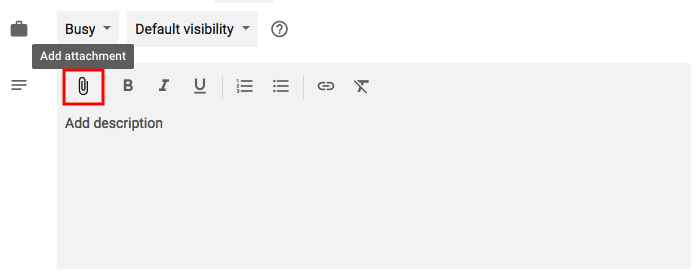 Feature for adding attachments to events in Google Calendar with paper clip icon highlighted in red