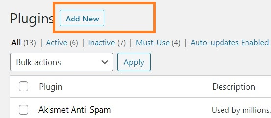 add new button on plugins page in wordpress