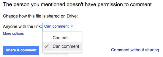 A user's comment permissions in a Google Doc