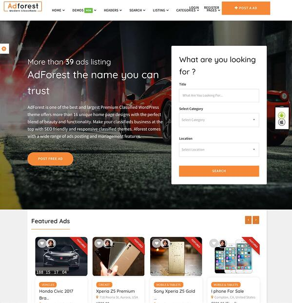 homepage search module demo on adforest classified theme