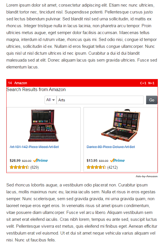wordpress on-page amazon wordpress ad sample