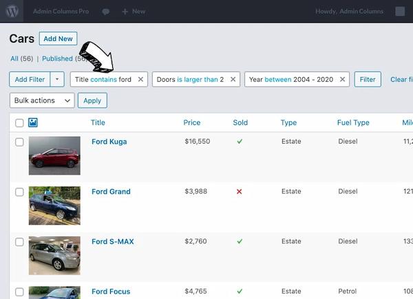 Admin Columns WordPress back-end customization plugin with columns in view