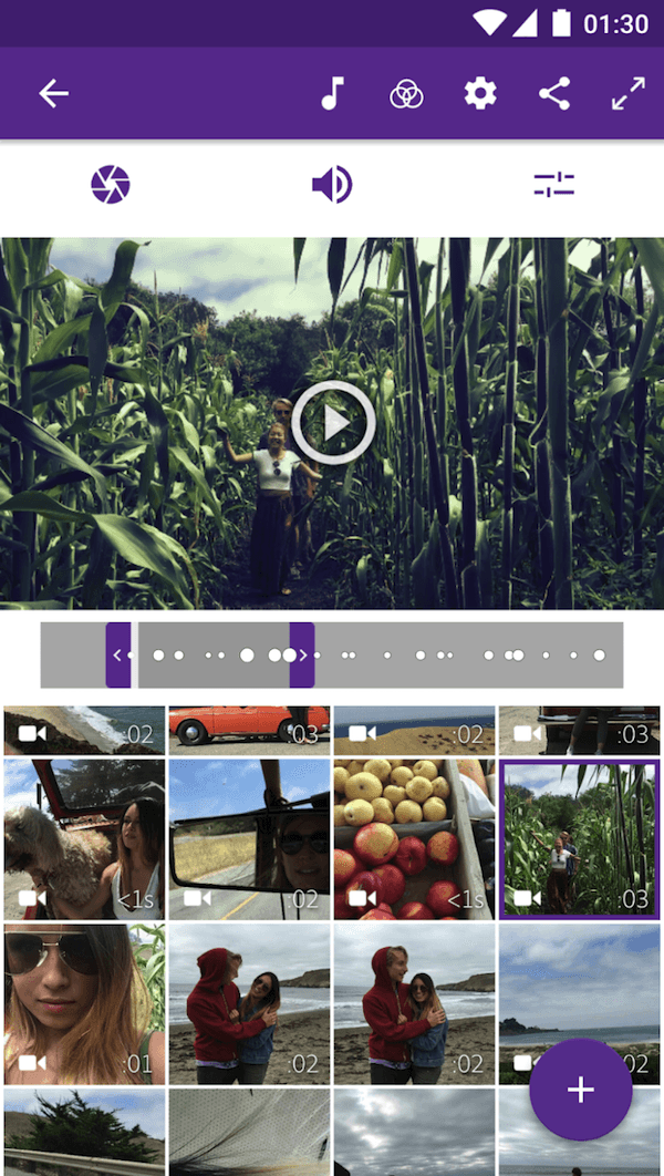 Dragging and dropping photos and videos on Adobe Premiere Clip video editing app