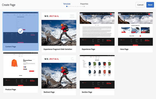 Adobe Experience Manager templates for creating a new page