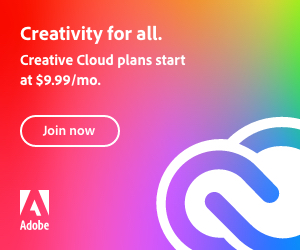 """Adobe Creative Cloud display ad with the text """"Creativity for all"""" and a button that tells people to """"Join now"""""""