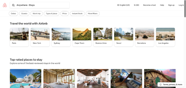 Airbnb, a crowdsourced vacation rental site, home page.