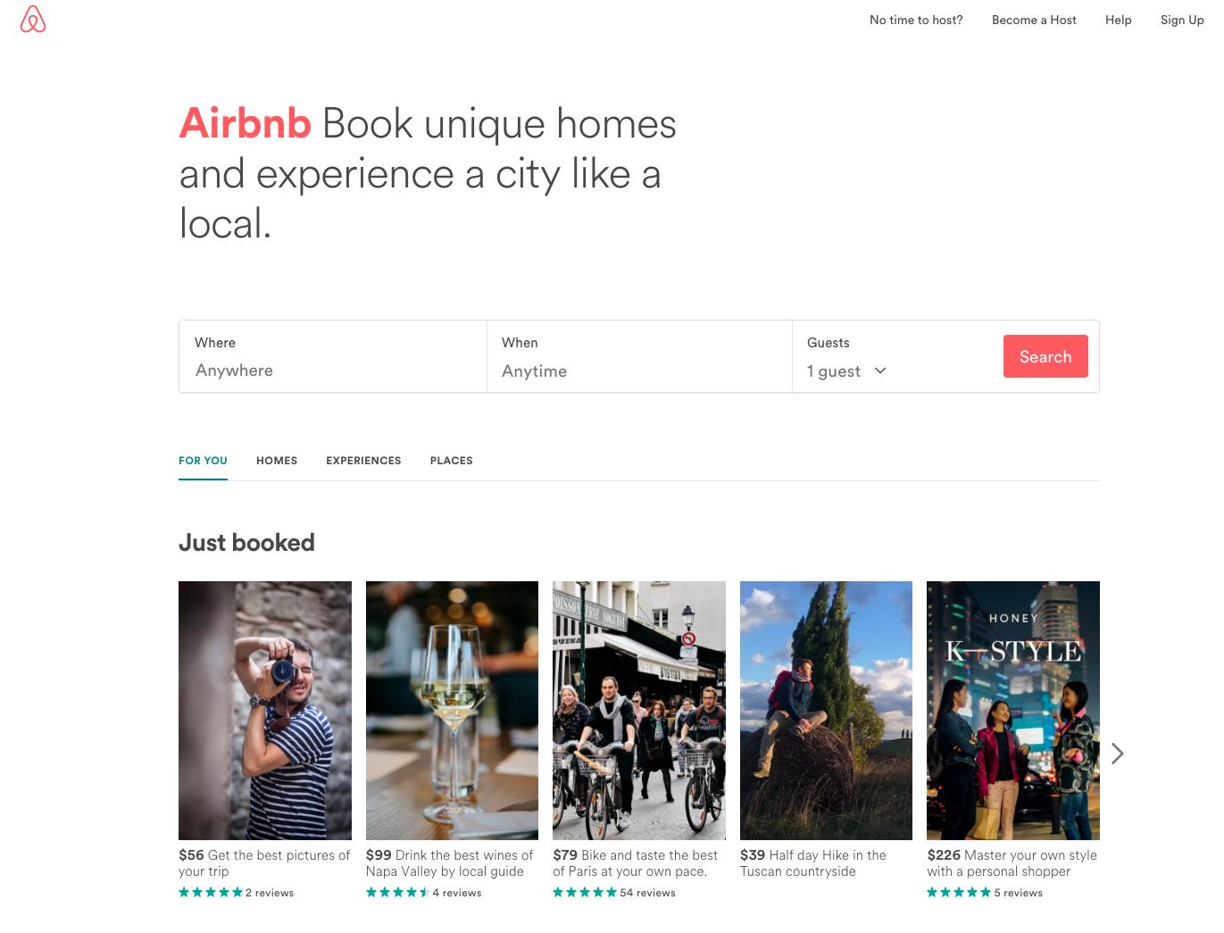 Airbnb homepage web design