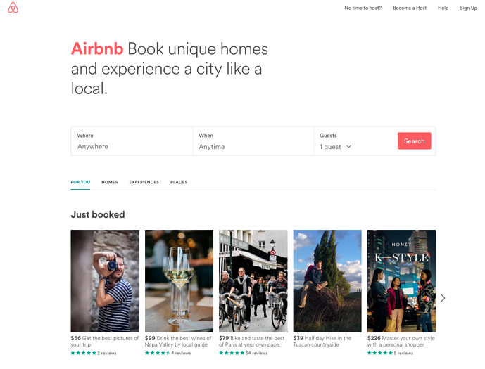 Airbnb homepage web design