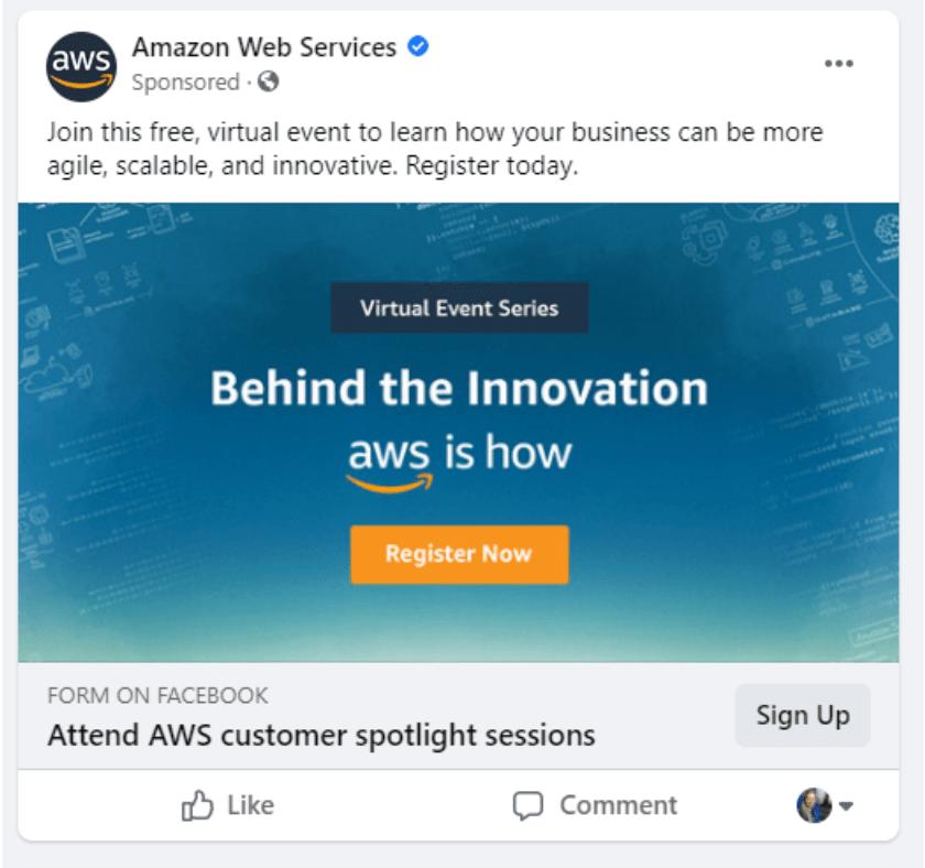 amazon web services facebook ad