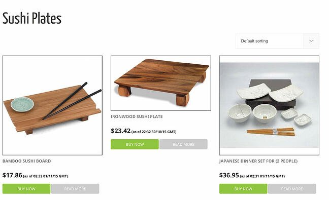 Amazon Affiliate storefront for sushi materials