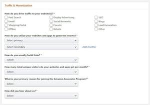 amazon affiliates: traffic & monetization section