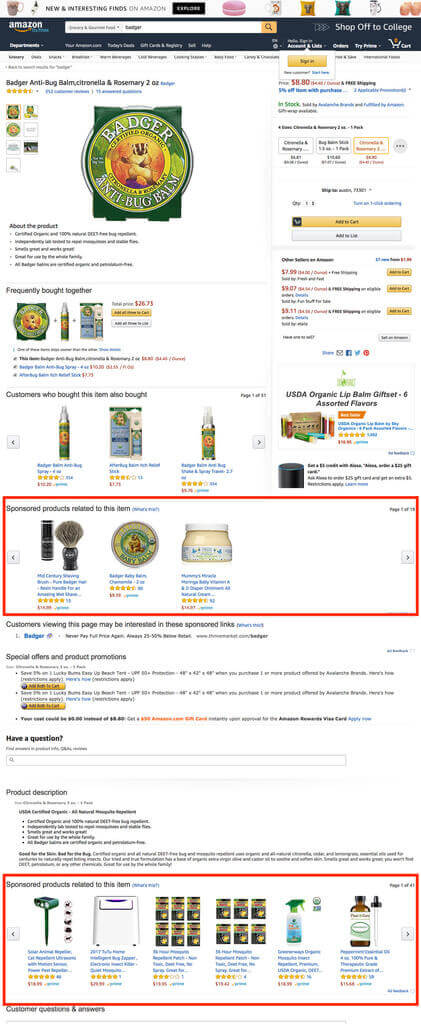 Amazon product display ads below the product detail page.