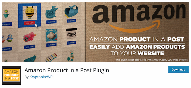 Amazon affiliate plugin by Amazon Product in a Post