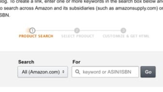amazon product links area where you enter asin number or search