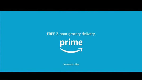 The end of an Amazon programmatic TV ad that advertises Prime's 2-hour grocery delivery