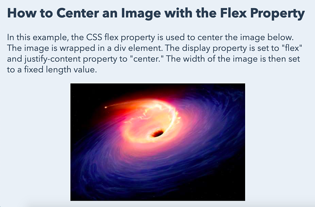 an image centered horizontally with the CSS flex property-1