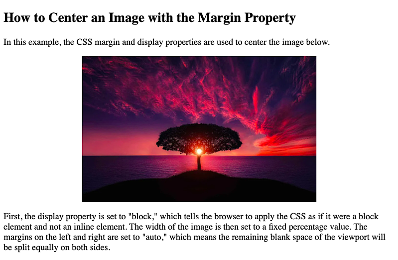 an image centered with the display and margin properties