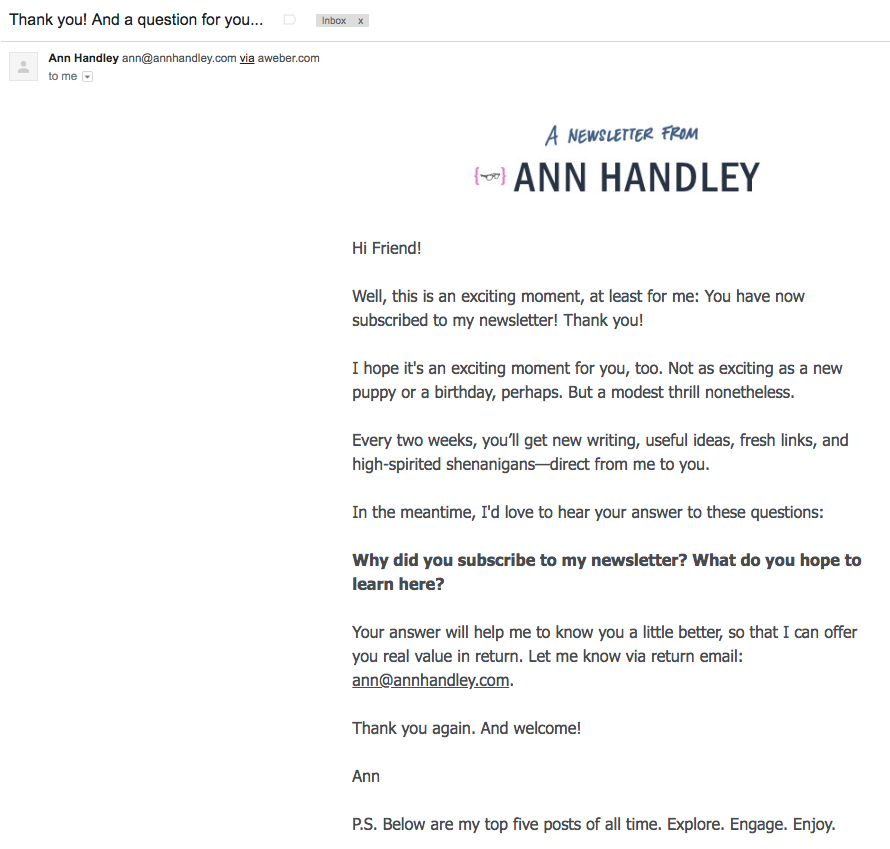 ann handley thank you letter