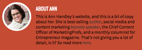 Ann Handleys Professional Bio On Her Personal Website