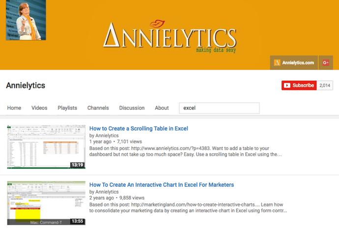 Excel video tutorials by Annielytics