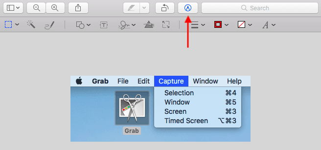 Screenshot opened in Apple Preview with expanded edit toolbar