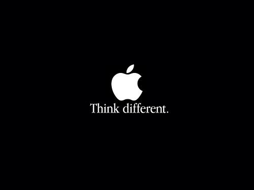 Apple's tagline, Think Different, with a white apple logo