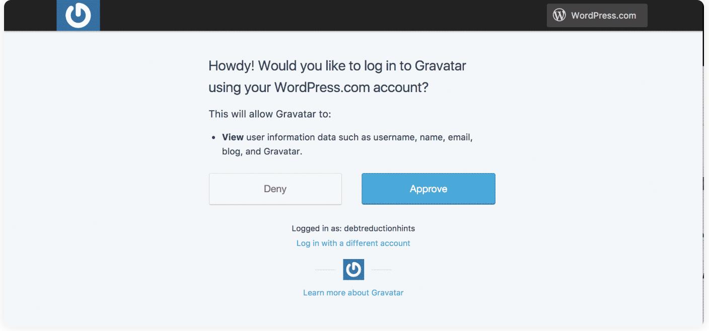 approve account in gravatar use wordpress