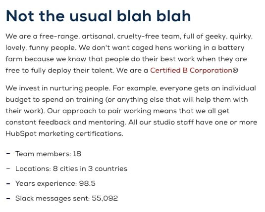 Copywriting on Meet the Team page by Articulate