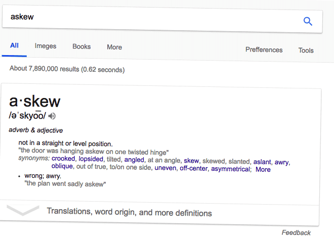 Google Easter egg of 'askew' results page