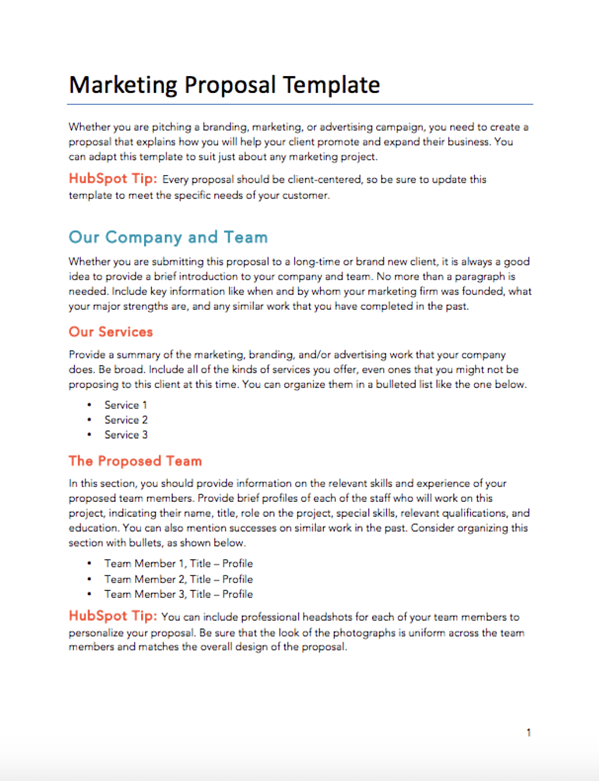 hubspot marketing proposal template: example of a simple and free marketing proposal