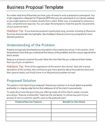 HubSpot's Business Proposal Template in Word