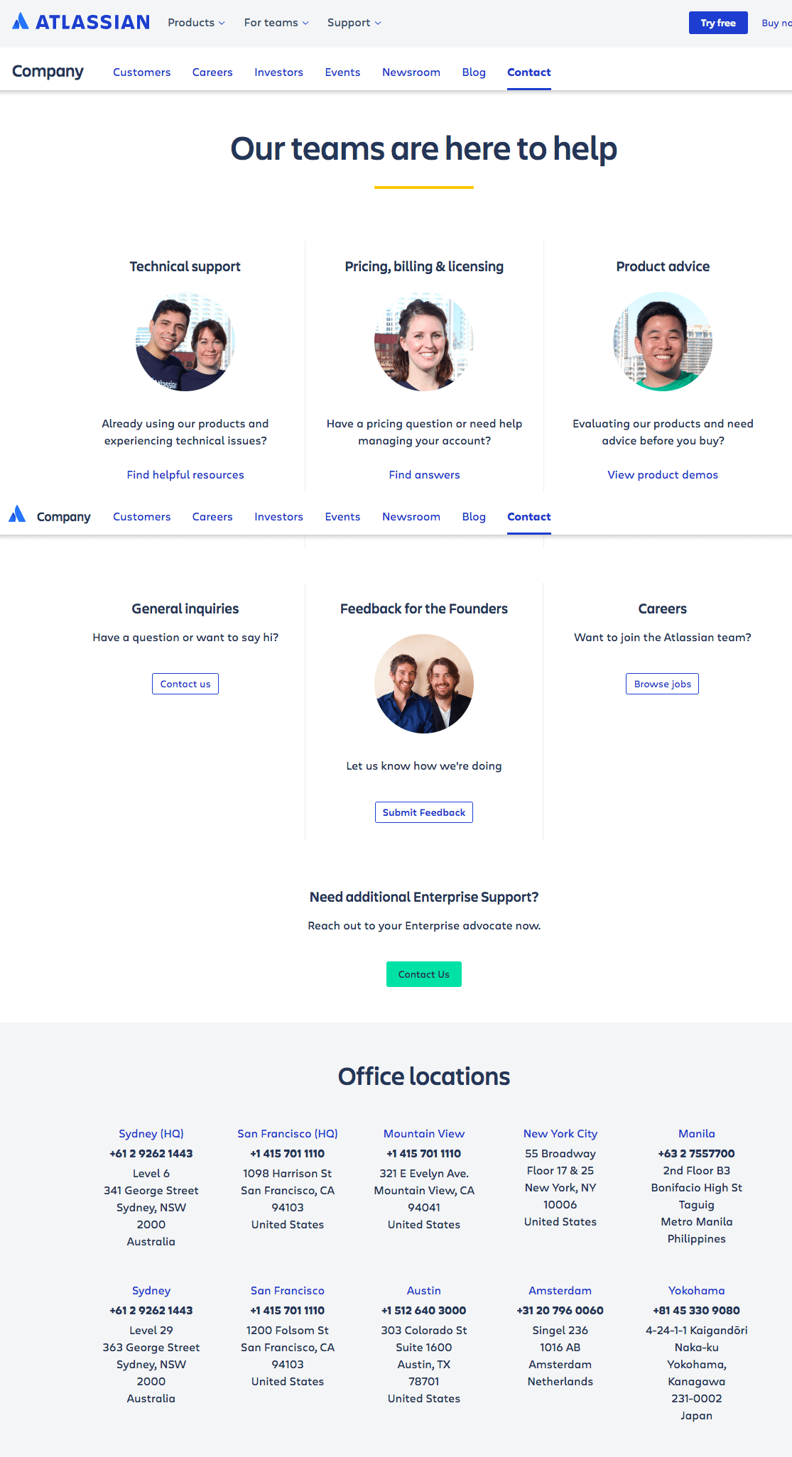 atlassian contact us-page