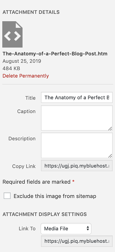 review attachment details to upload HTML file to WordPress