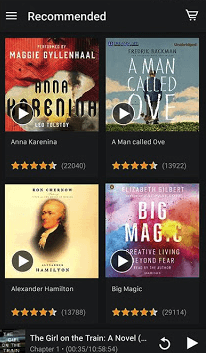 Audible mobile app for listening to a podcast or audiobook
