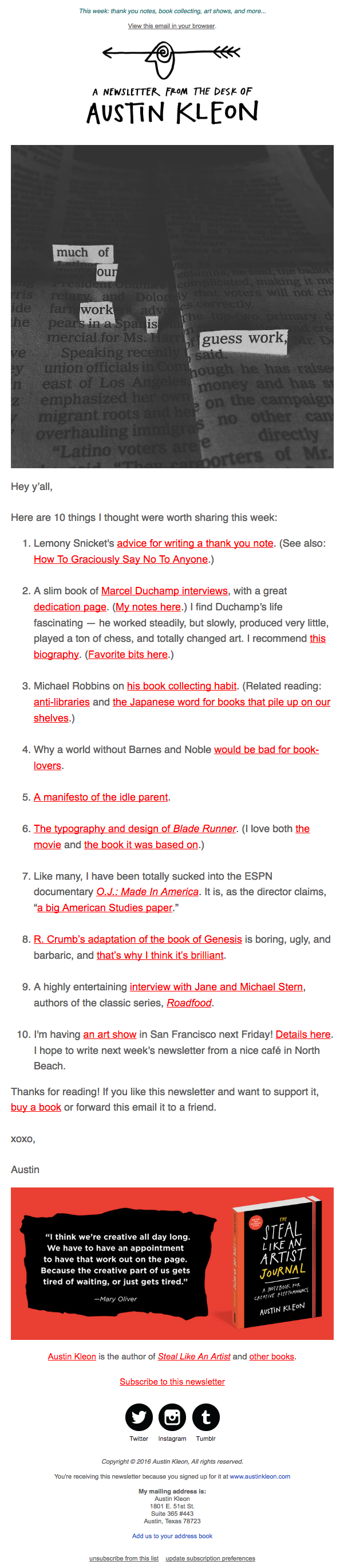 Austin Kleon Newsletter Example.png  Example Of A News Letter