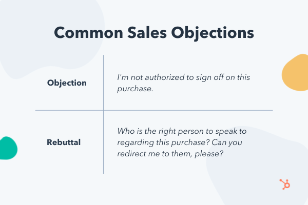 Common sales objections and rebuttals about authorization